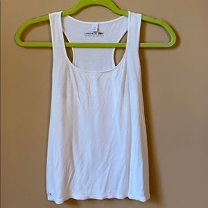 Lacoste Cotton Racerback Off White Tank Top